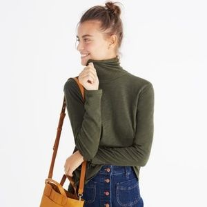 Madewell Dark Green Whisper Cotton Turtleneck sz L